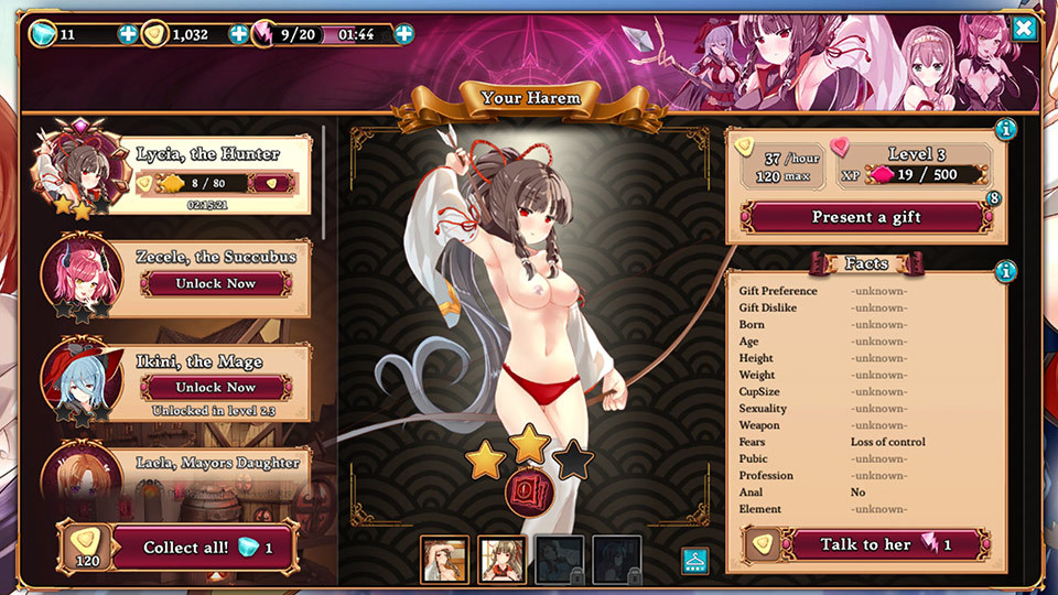 Naughty Kingdom Harem Girls Stats